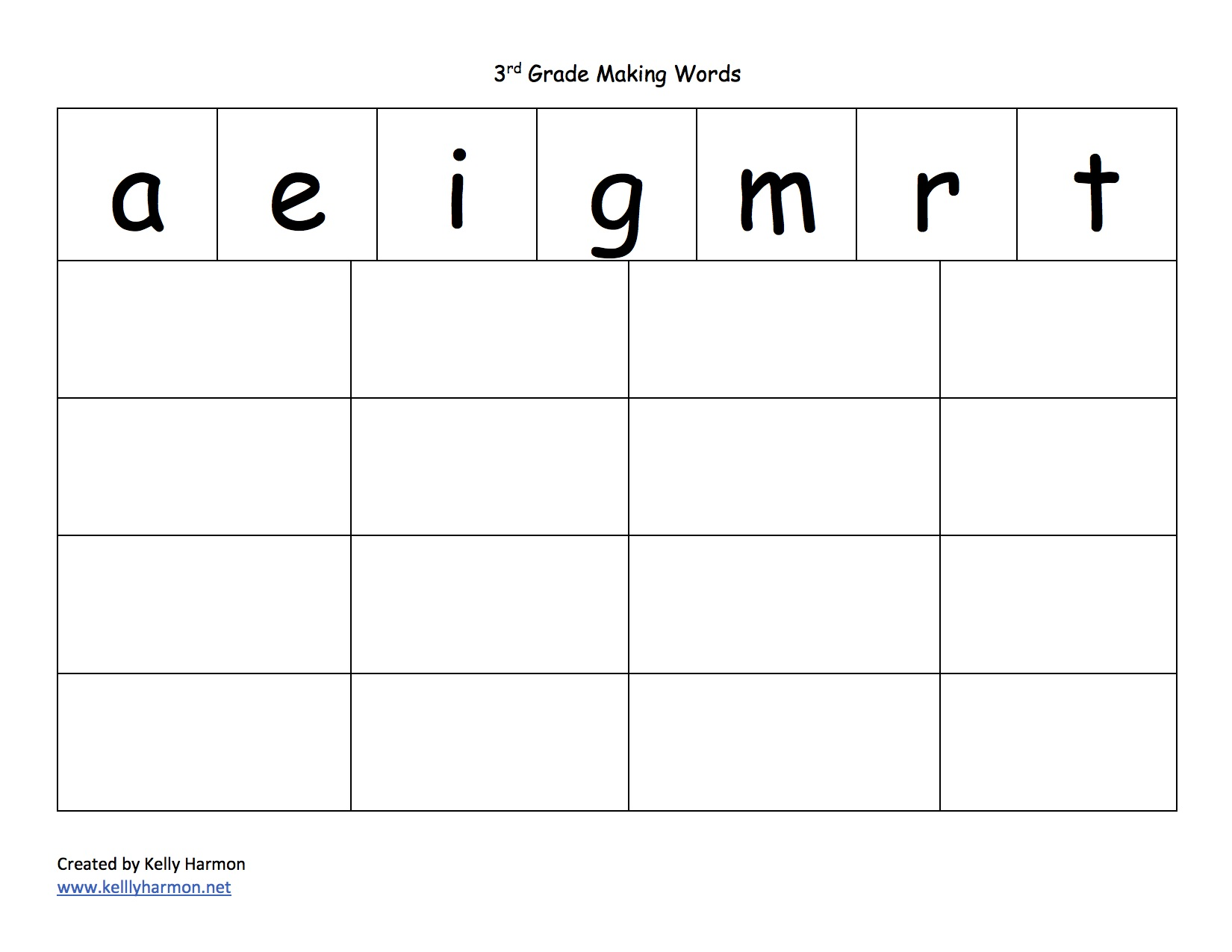 3rd Grade-10 Weeks of Making Words