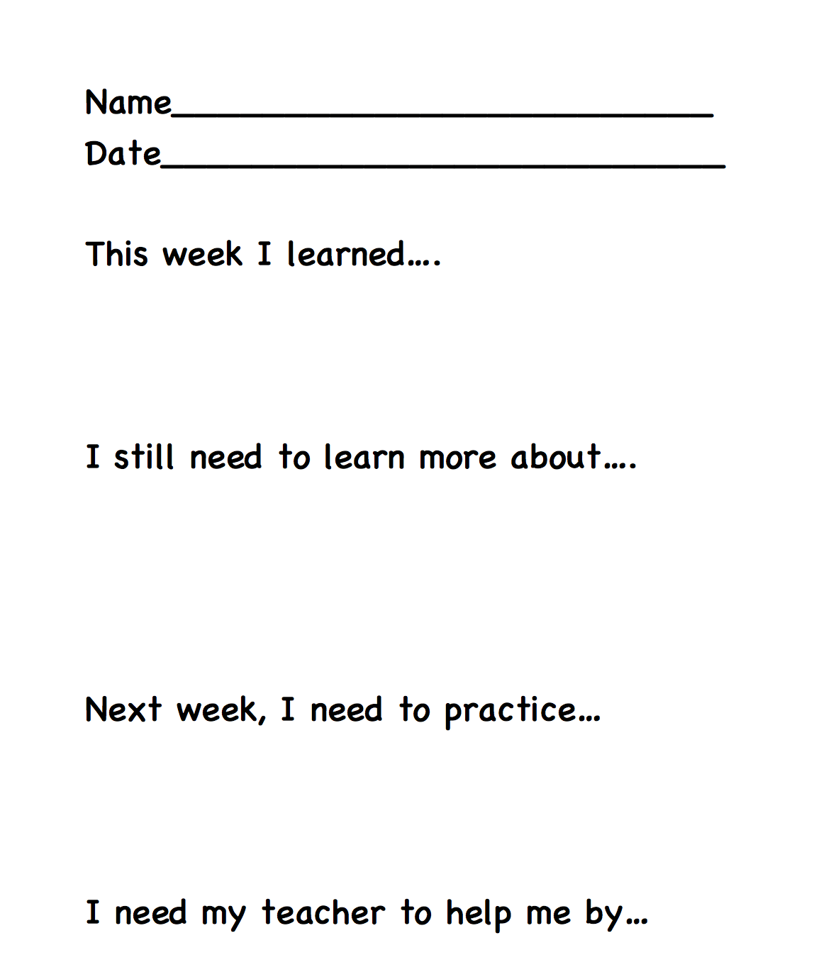 Student Reflections on Weekly Progress