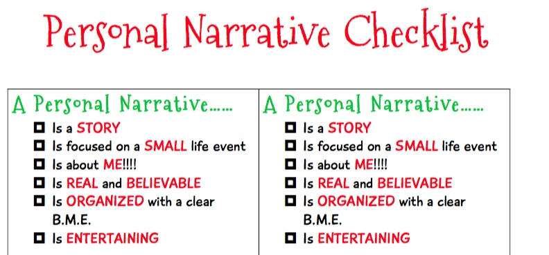 Personal Narrative Checklist ***Best Seller!